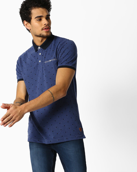 Polka-Dot Print Polo T-shirt By NETPLAY ( Blue )