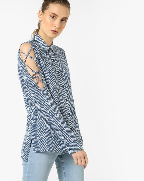 Printed High-Low Shirt By Oxolloxo ( Grey )