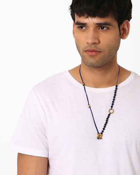 Beaded Polyester Necklace By Alto Vida ( Blueblack )