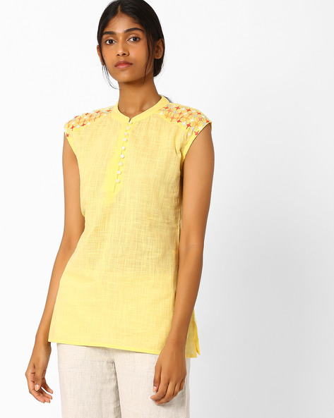 Tunic With Embroidered Shoulder Panels By AJIO ( Yellow )