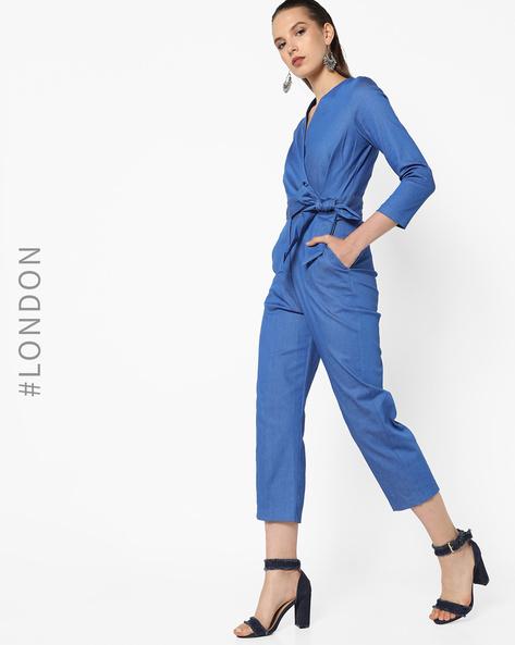 Jumpsuit With Surplice Neckline By Closet London ( Blue )