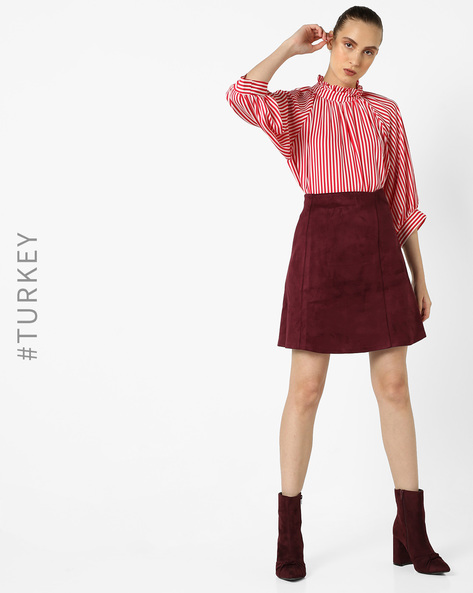 Striped Top With Ruffled Neckline By TRENDYOL ( Red )