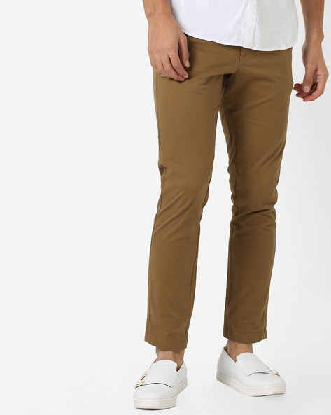 Flat-Front Tapered Chinos By NETPLAY ( Brown )
