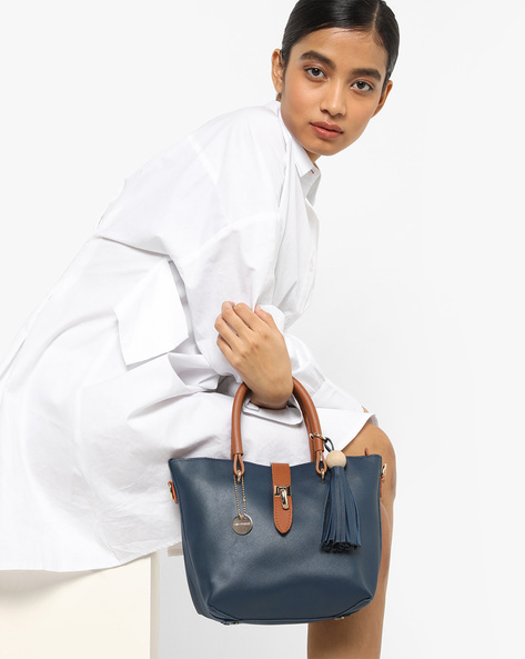 Handbag With Sling Pouch By Lino Perros ( Blue )