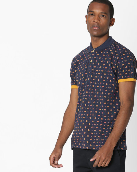 All-Over Print T-shirt By UNITED COLORS OF BENETTON ( Darkblue )