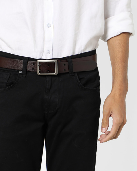 Genuine Leather Textured Belt By Buckle Up ( Brown ) - 460120149001