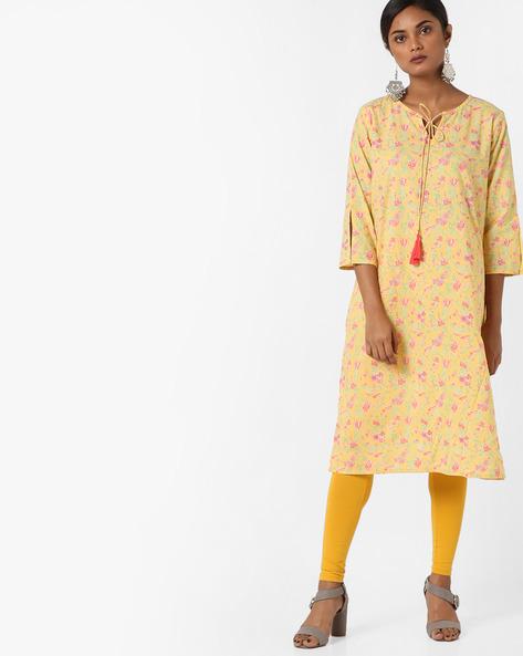 Printed Straight Kurta With Tie-Up By AJIO ( Yellow )