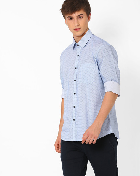 Printed Cotton Shirt By NETWORK ( Blue )