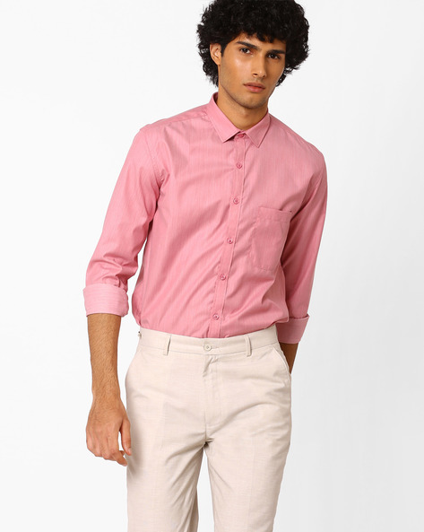 Slim Fit Shirt With Patch Pocket By British Club ( Red )