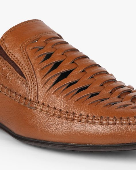 Leather Shoes With Braided Upper By Lee Cooper ( Tan )