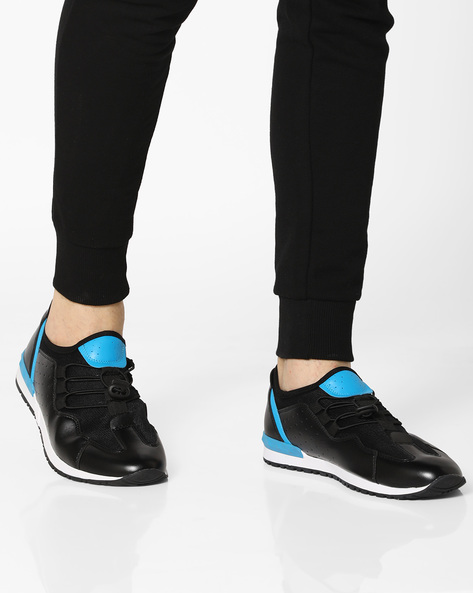Panelled Slip-On Sneakers With Toggle Fastening By AJIO ( Black )