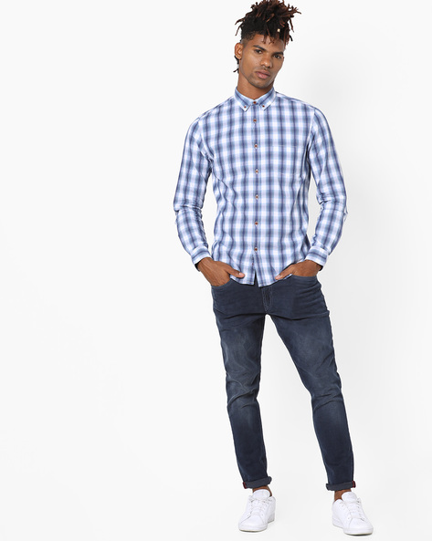 Checked Shirt With Button-Down Collar By AJIO ( Blue ) - 460120285001