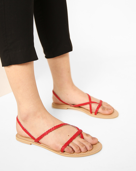 Braided Flat Sandals With Slingback By AJIO ( Red )