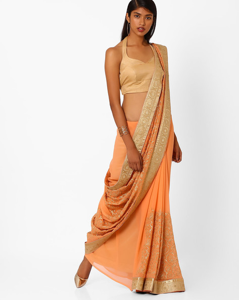 Embroidered Saree With Contrast Border By Amori ( Peach )