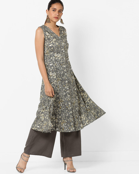 Floral Print A-line Dress With Front-Slit Hem By AJIO ( Grey )