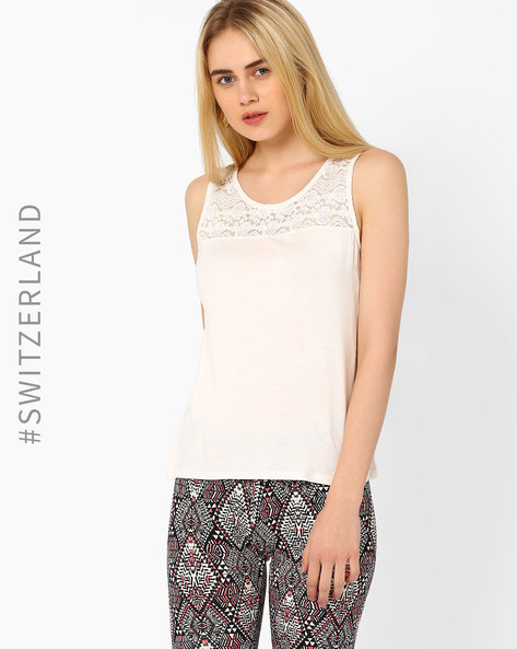 Sleeveless Top With Lace Yoke By TALLY WEiJL ( Offwhite )
