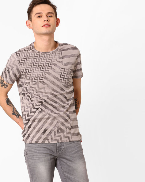 Printed Pure Cotton T-shirt By AJIO ( Grey )