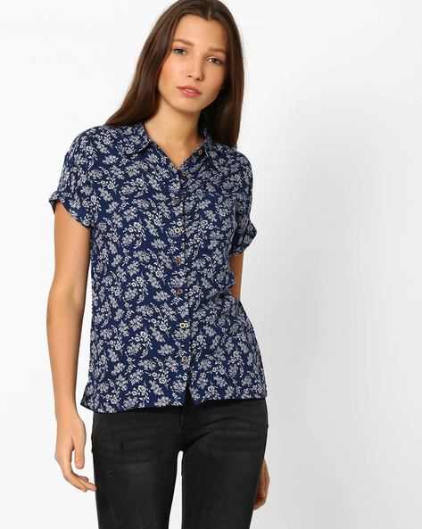 Floral Print Shirt With Upturned Sleeves By DNM X ( Darkblue )