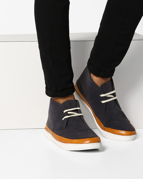 N9-Treated Lace-Up Sneakers By AJIO ( Navy )