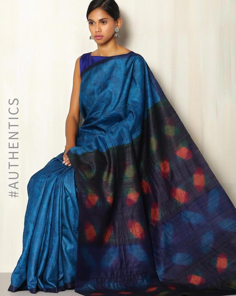 Handblock Print Pure Silk Desi Tussar Handloom Saree With Itajime Pallu By Sujata Weaves And Prints ( Blue )