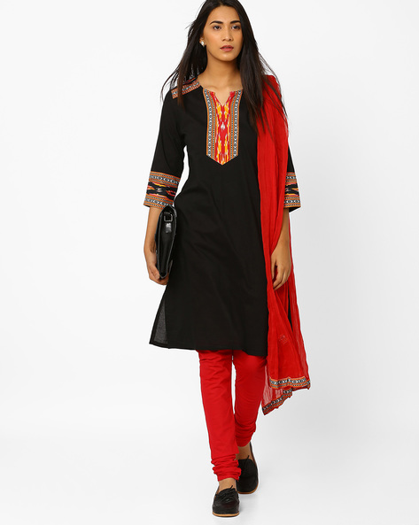 Churidar Kurta With Dupatta By AVAASA SET ( Black ) - 440706646005