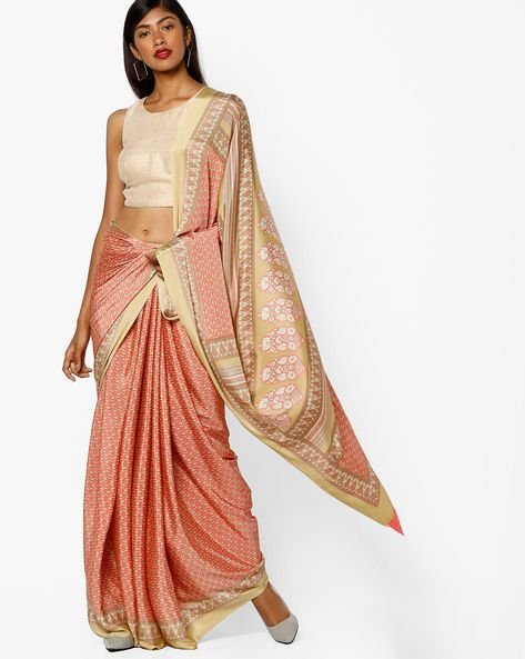 Printed Saree With Contrast Border By Majestic Silk ( Pink )