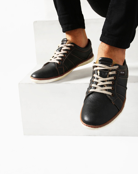 Low-Top Lace-Up Sneakers By ESCARO ( Black )