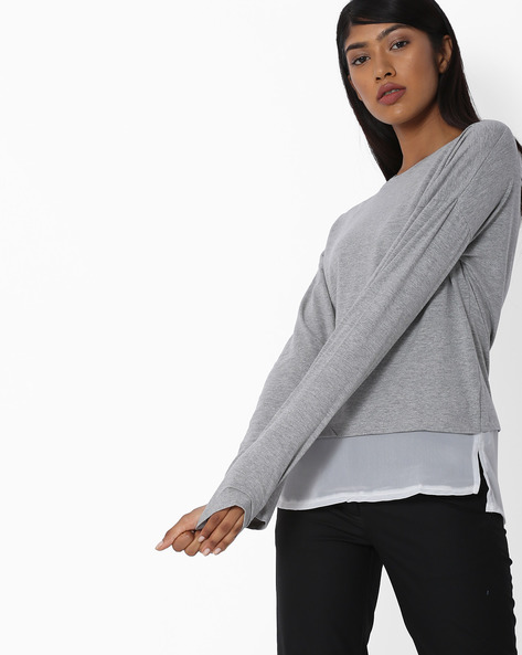 Full Sleeves Top With Overlay By Blue Saint ( Multi )