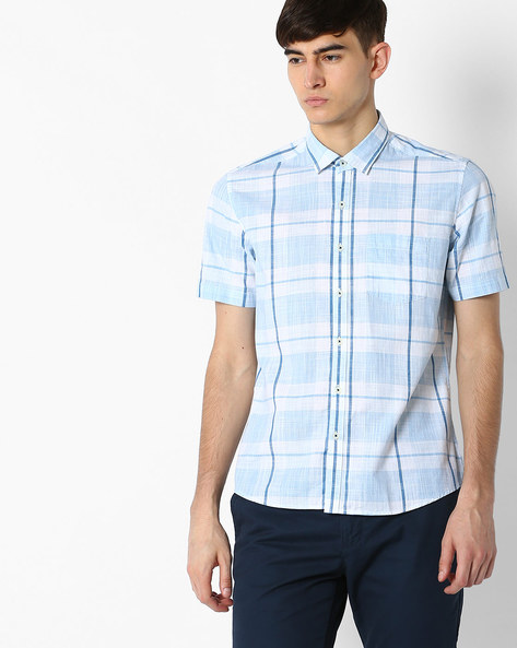 Regular Fit Checked Shirt With Patch Pocket By NETPLAY ( Blue )