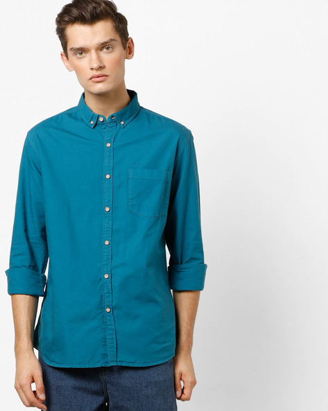 Cotton Shirt With Button-Down Collar By FLYING MACHINE ( Green )