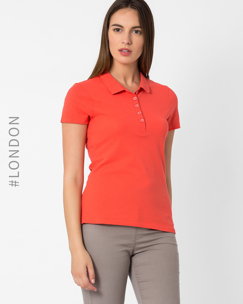 Pique Polo T-shirt By Marks & Spencer ( Orange )