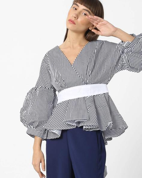 Striped V-neck Top With Bishop Sleeves By Ginger By Lifestyle ( Blue )