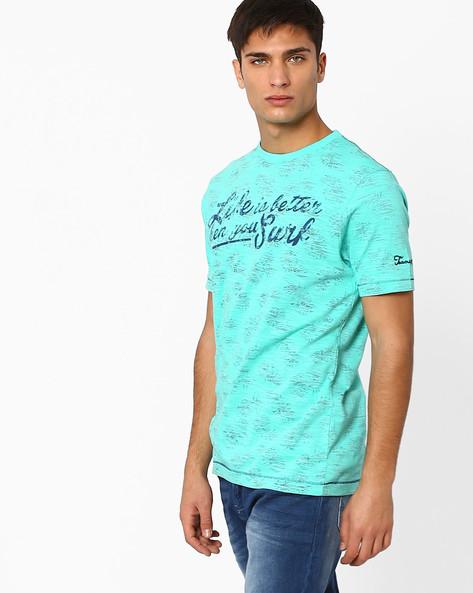 All-Over Print Knit T-shirt By Teamspirit ( Green )