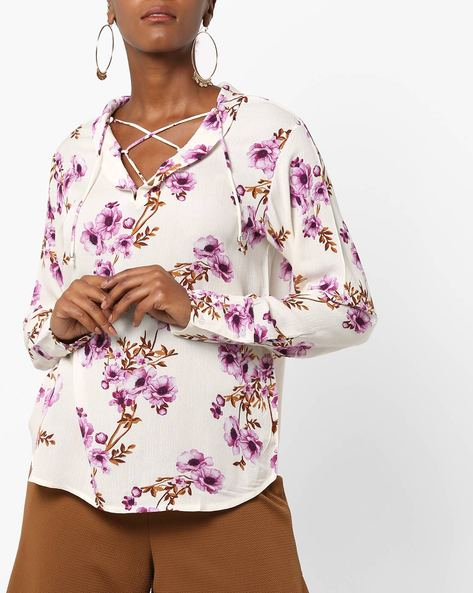 Floral Print Top With Neck Tie-Up By Rena Love ( White )