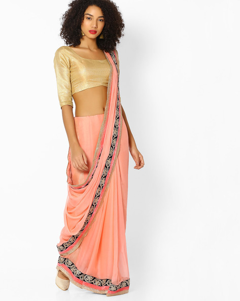 Chiffon Saree With Embroidered Border By Vastrangi ( Peach )