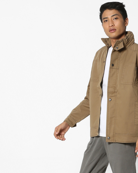 Buttoned-Front Jacket With Insert Pockets By Fort Collins ( Khaki )