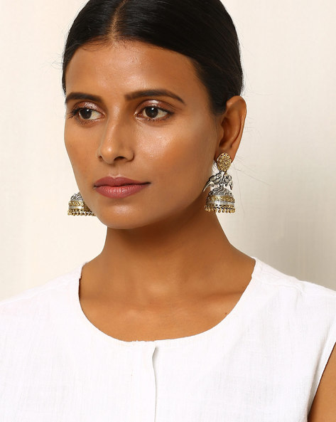 Two-Toned Bird-Shaped Brass Jhumkas By Indie Picks ( Silver )