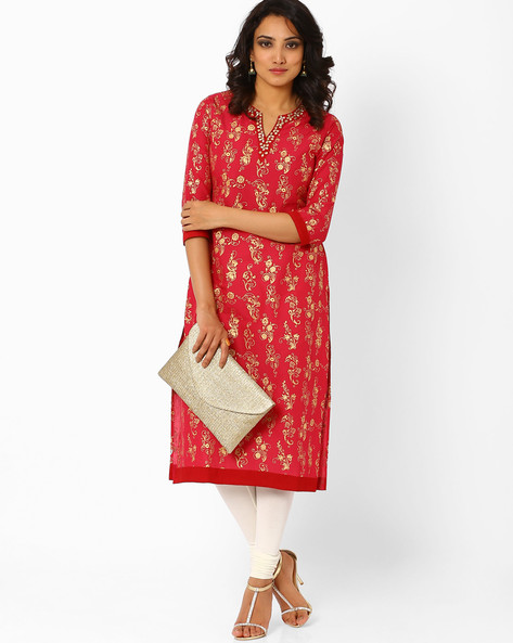Printed Kurta With Embellished Neckline By AJIO ( Pink )