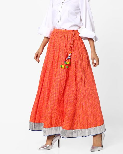 Printed A-Line Skirt With Embellished Tie-Up By Biba ( Orange )