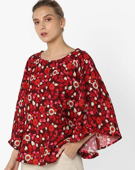 Floral Top With Kimono Sleeves By Project Eve IW Fusion ( Maroonburg )