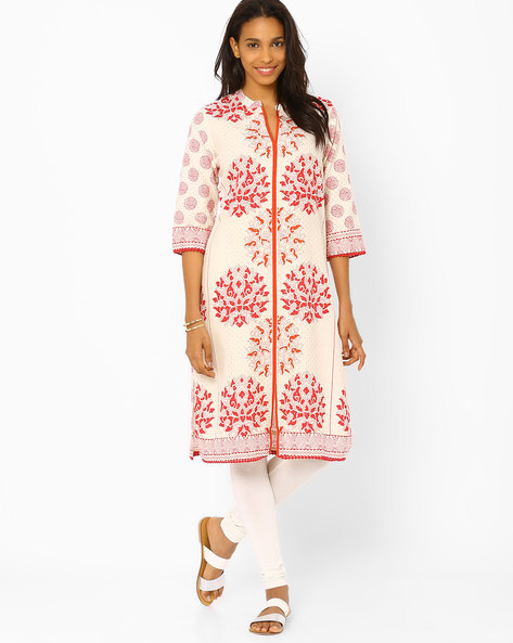 Printed Kurta With Bobble Trim By Rangriti ( Beige )