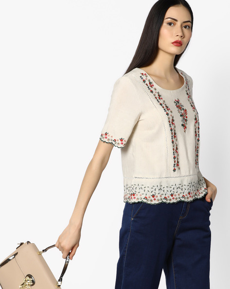 Embroidered Scalloped Top By CODE By Lifestyle ( Beige )