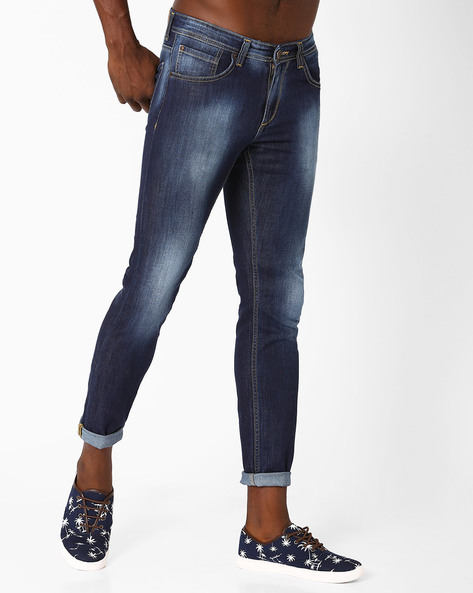 Lightly Washed Tapered Fit Jeans By SPYKAR ( Dkblue ) - 460032229006