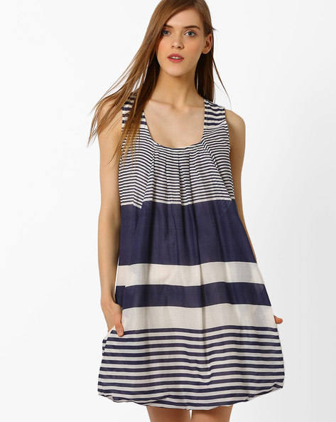 Striped A-line Dress With Pockets By Oxolloxo ( Blue )