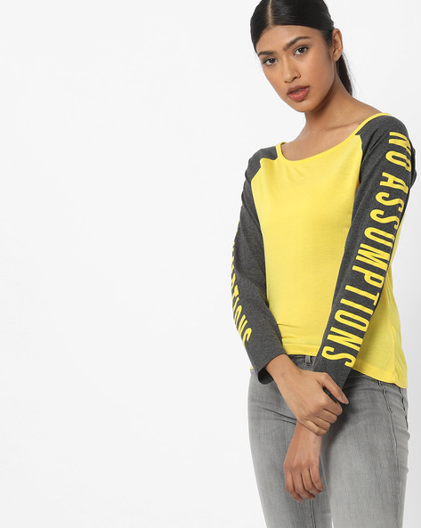 Typographic Print Top With Raglan Sleeves By Teamspirit ( Yellow )