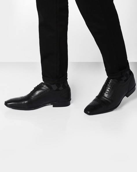 Faux Leather Shoes With Broguing By Knotty Derby ( Black )