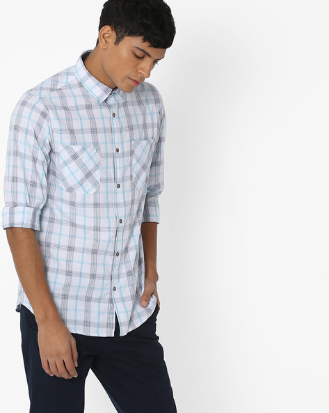 Checked Cotton Shirt With Flap Pockets By AJIO ( Blue )