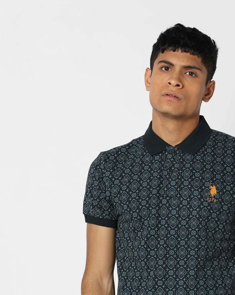 Printed Polo T-shirt With Vented Hemline By US POLO ( Navy )