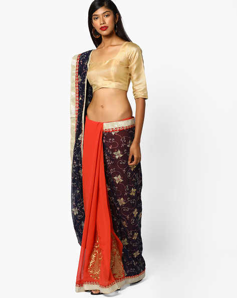 Half & Half Saree With Embroidery By CHHABRA 555 ( Orange )