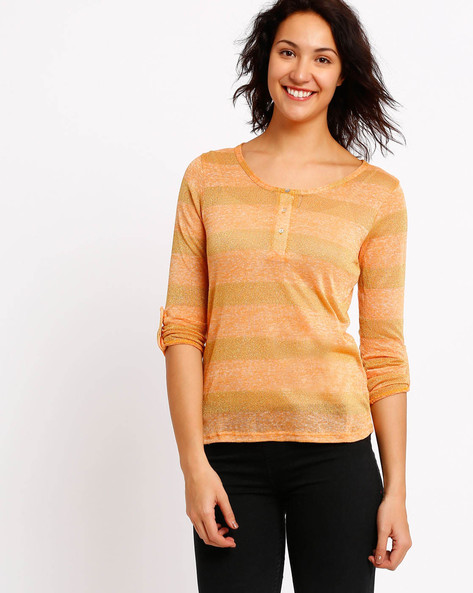 Striped T-shirt With Roll-Up Sleeve Tabs By FIG ( Assorted )